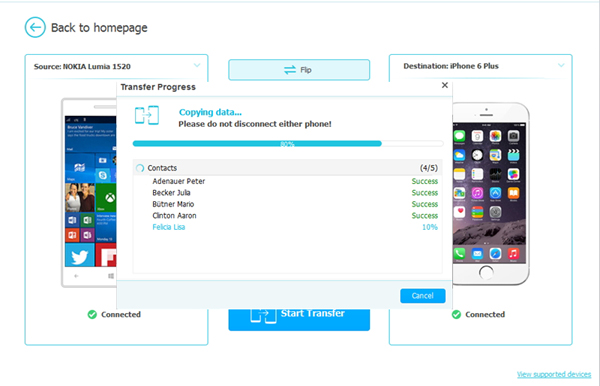 start to transfer data from nokia to iphone