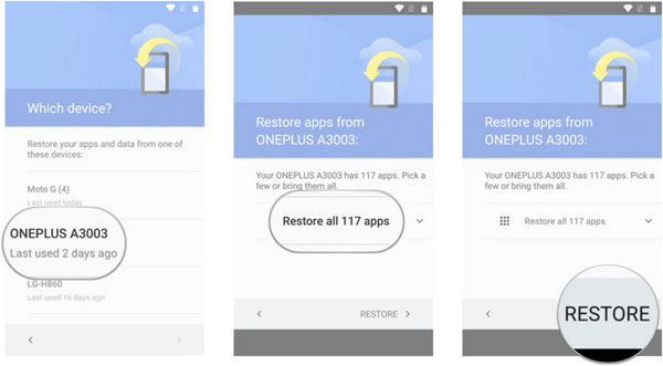 restore data to android from google backup