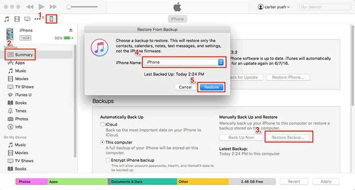 restore from itunes to iphone