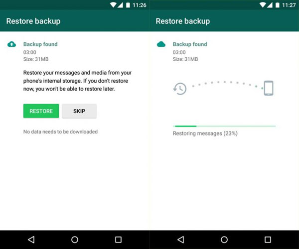 transfer whatsapp messages via whatsapp chat backup