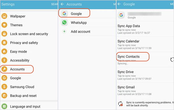 copy samsung contacts to lg with gmail account
