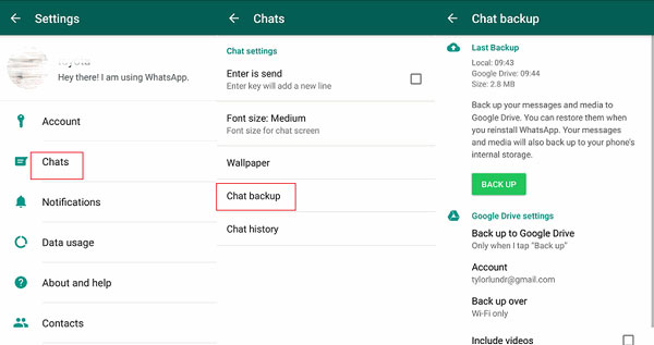 how to transfer whatsapp messages to new android phone via local backup