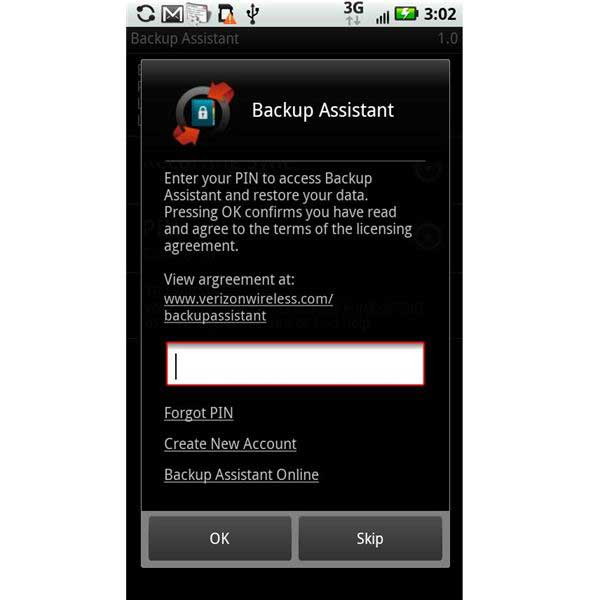transfer verizon contacts with backup assistant