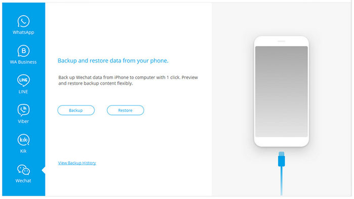 choose the wechat option for backup