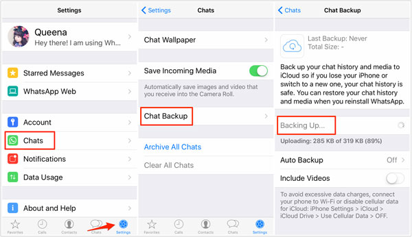how to sync whatsapp messages from iphone to iphone