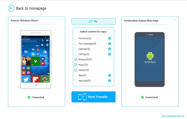 Select S To Transfer From Android Windows Phone
