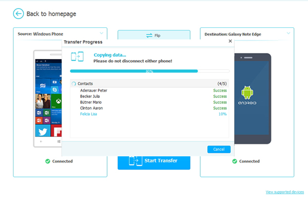start to transfer data from windows phone to iphone