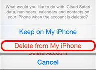 delete icloud account from iphone settings