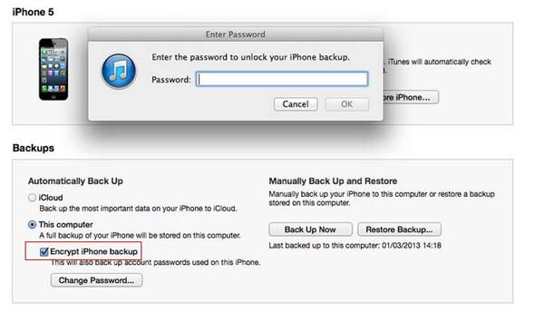 how to restore without iphone backup password